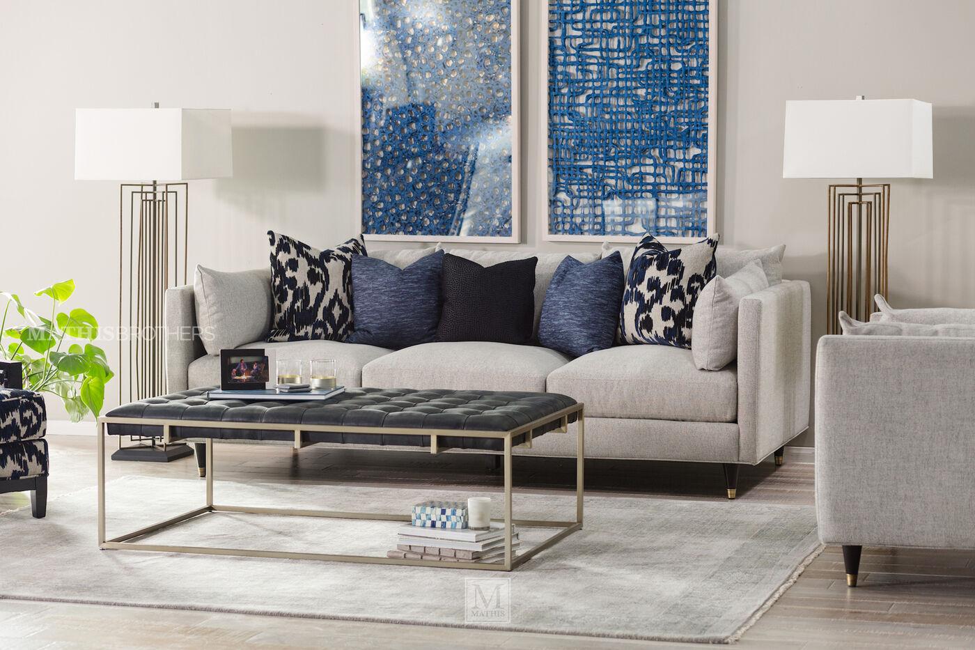 Low Profile Mid Century Modern 45 Sofa In Stone
