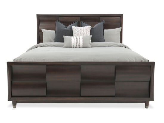 "56"" Contemporary Woven California King Panel Bed in Black Cherry"