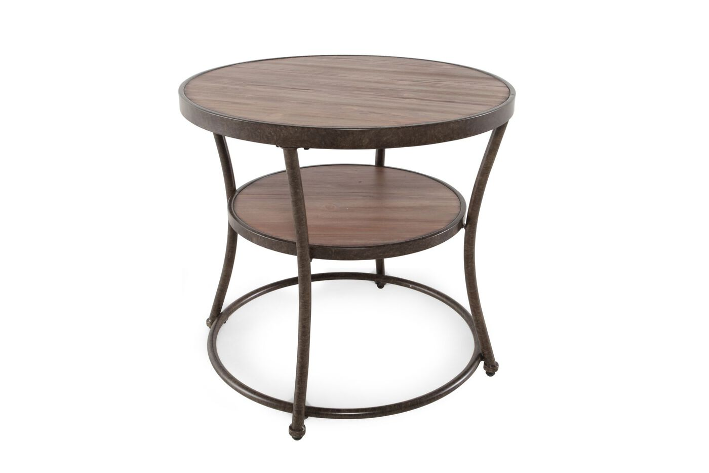 Distressed Round Casual End Table In Rustic Pine