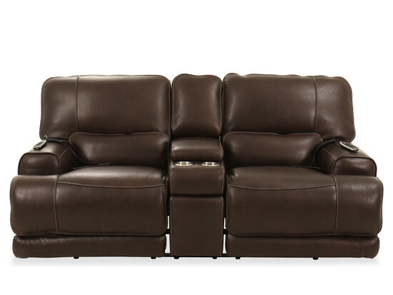 "80"" Power Headrest Leather Console Loveseat in Brown"