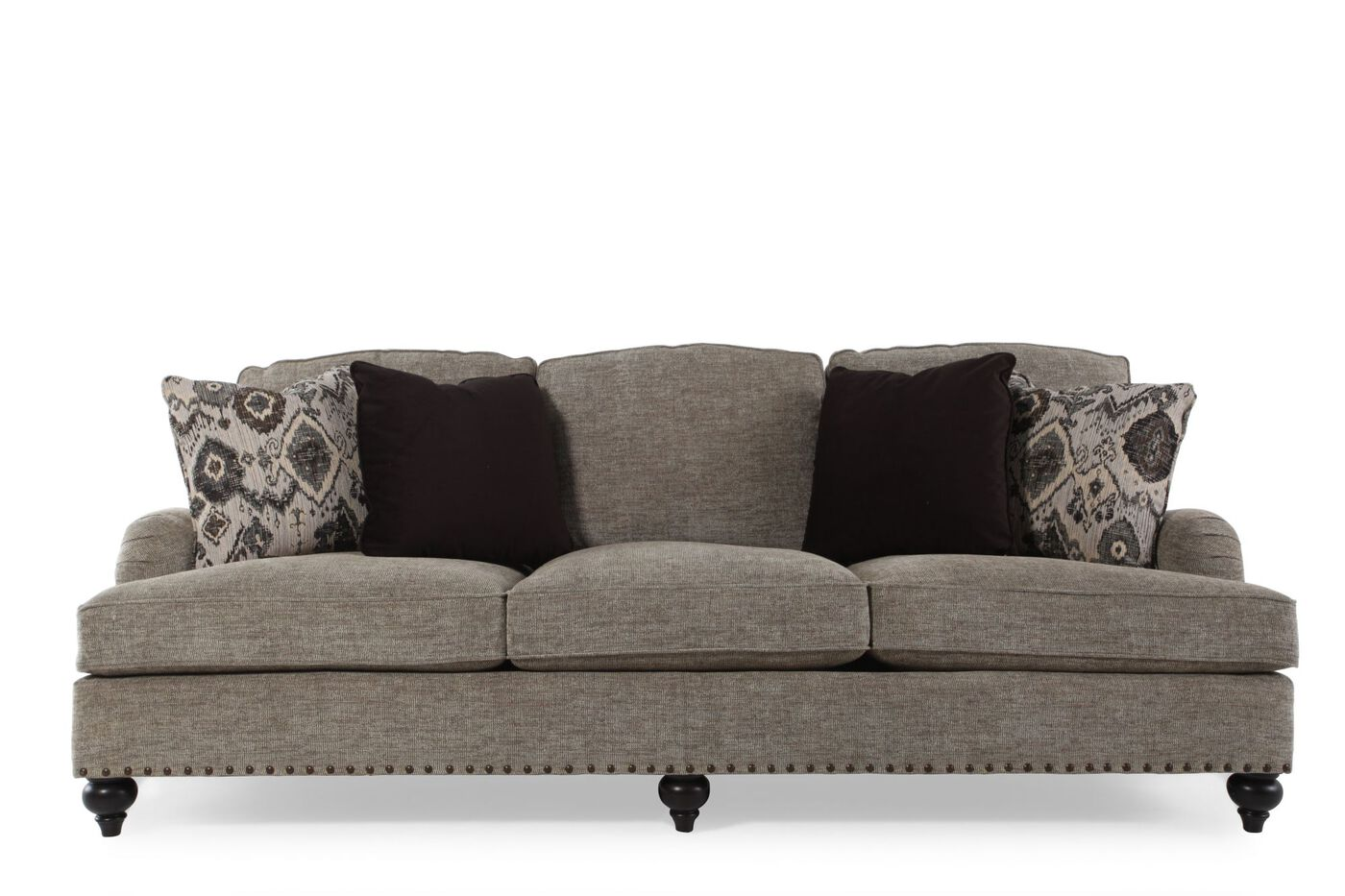 Low profile nailhead accented 93 sofa in gray mathis for Bernhardt furniture