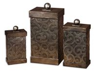 Three-Piece Patterned Decorative Boxes in Silver Leaf