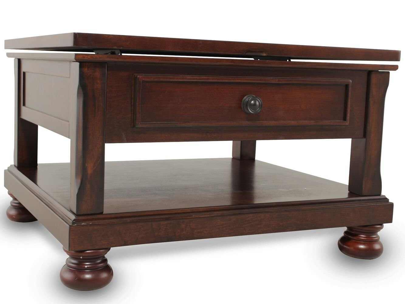 Lift Top Traditional Cocktail Table In Brown Cherry Mathis Brothers Furniture