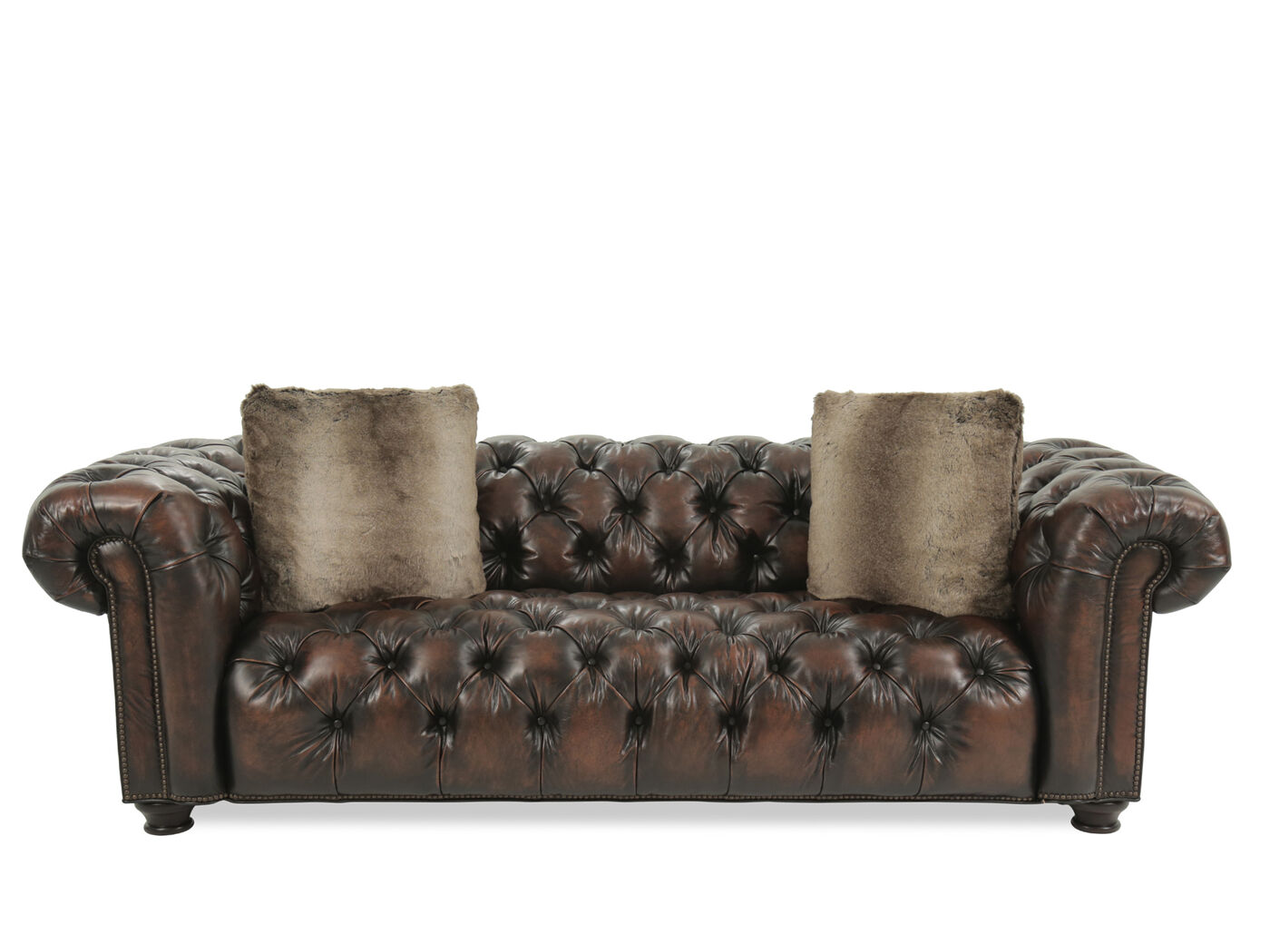 Button Tufted Leather 99 Sofa In Tobacco Mathis Brothers Furniture ~ Wellington Leather Sofa
