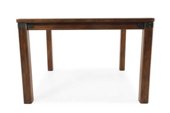 """Traditional 54"""" Metal Strap-Accented Gathering Table in Medium Brown"""
