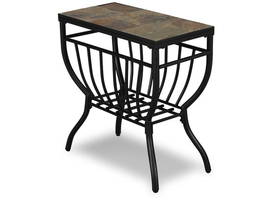 Rectangular Contemporary Chairside Table in Gunmetal