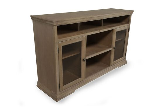Casual Five-Open Compartment Console in Rustic Driftwood