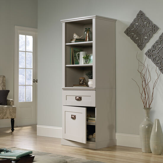 One-Door Contemporary Tall Cabinet in Cobblestone