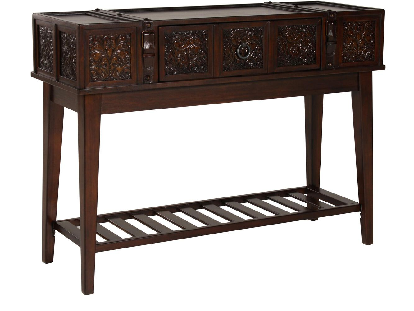 Stamped insets traditional console table in brown mathis for 10 inch sofa table