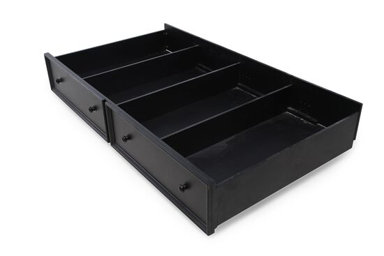 Casual Youth Trundle Storage Unit in Dark Ebony Matte Black