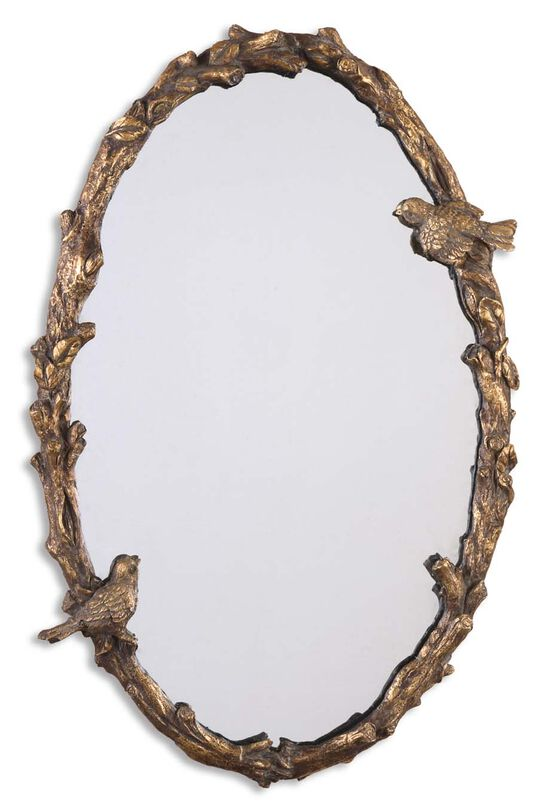 "34"" Bird and Vine Accent Mirror in Antiqued Gold Leaf"