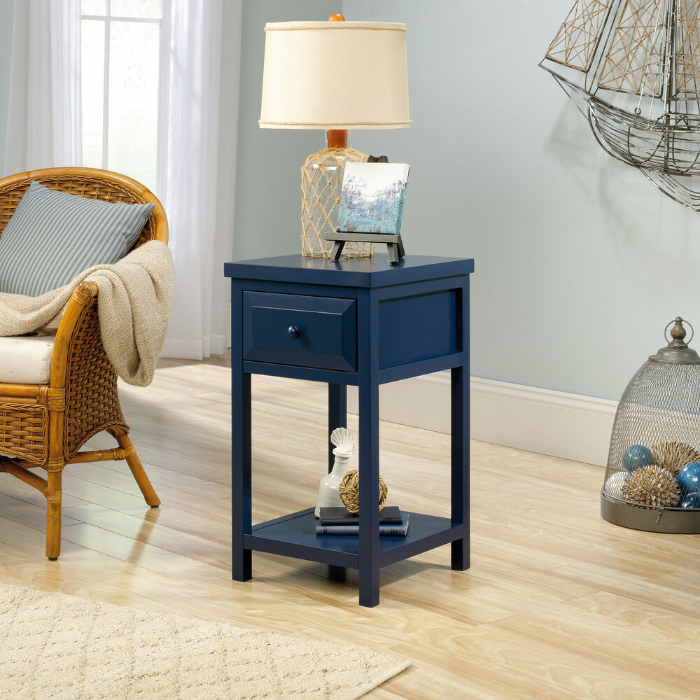 One Drawer Contemporary Side Table In Indigo Blue Mathis