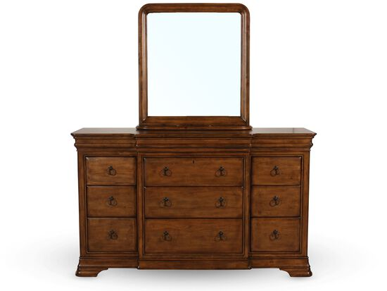 Two-Piece Traditional Twelve-Drawer Dresser and Mirror in Cognac