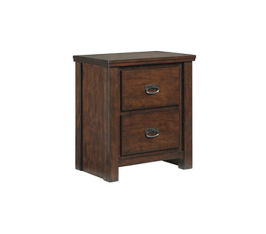 Distressed Two-Drawer Youth Nightstand in Rustic Brown