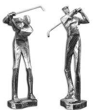Two-Piece Golf Player Statues in Metallic Silver