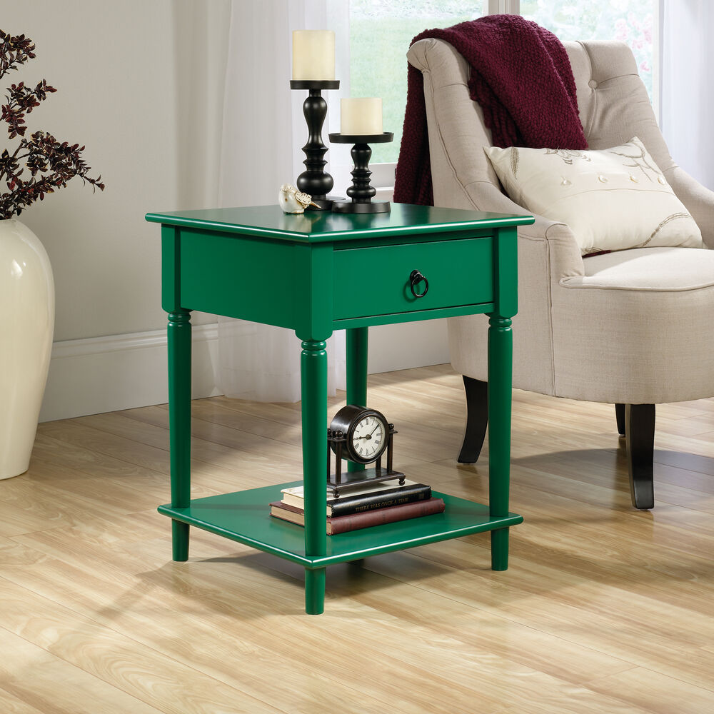 One-Drawer Contemporary Side Table In Emerald Green