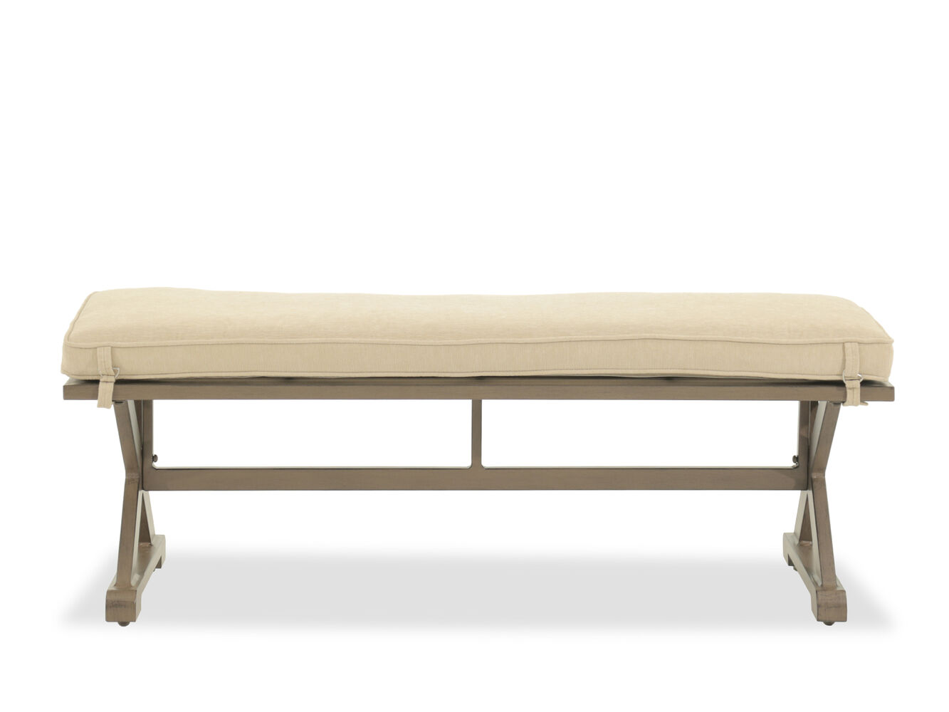 X Leg Aluminum Bench With Cushion In Beige Mathis