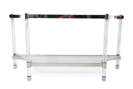 Tempered Glass Top Glam Console Table in Silver