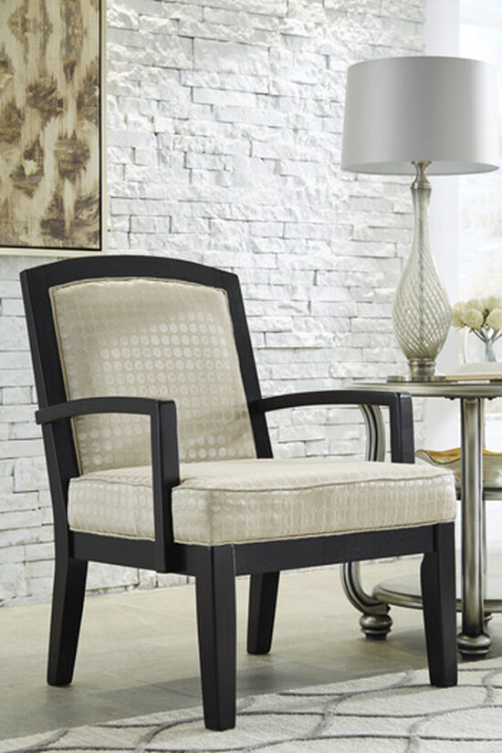 """Textured Contemporary 28"""" Accent Chair in Pearl"""