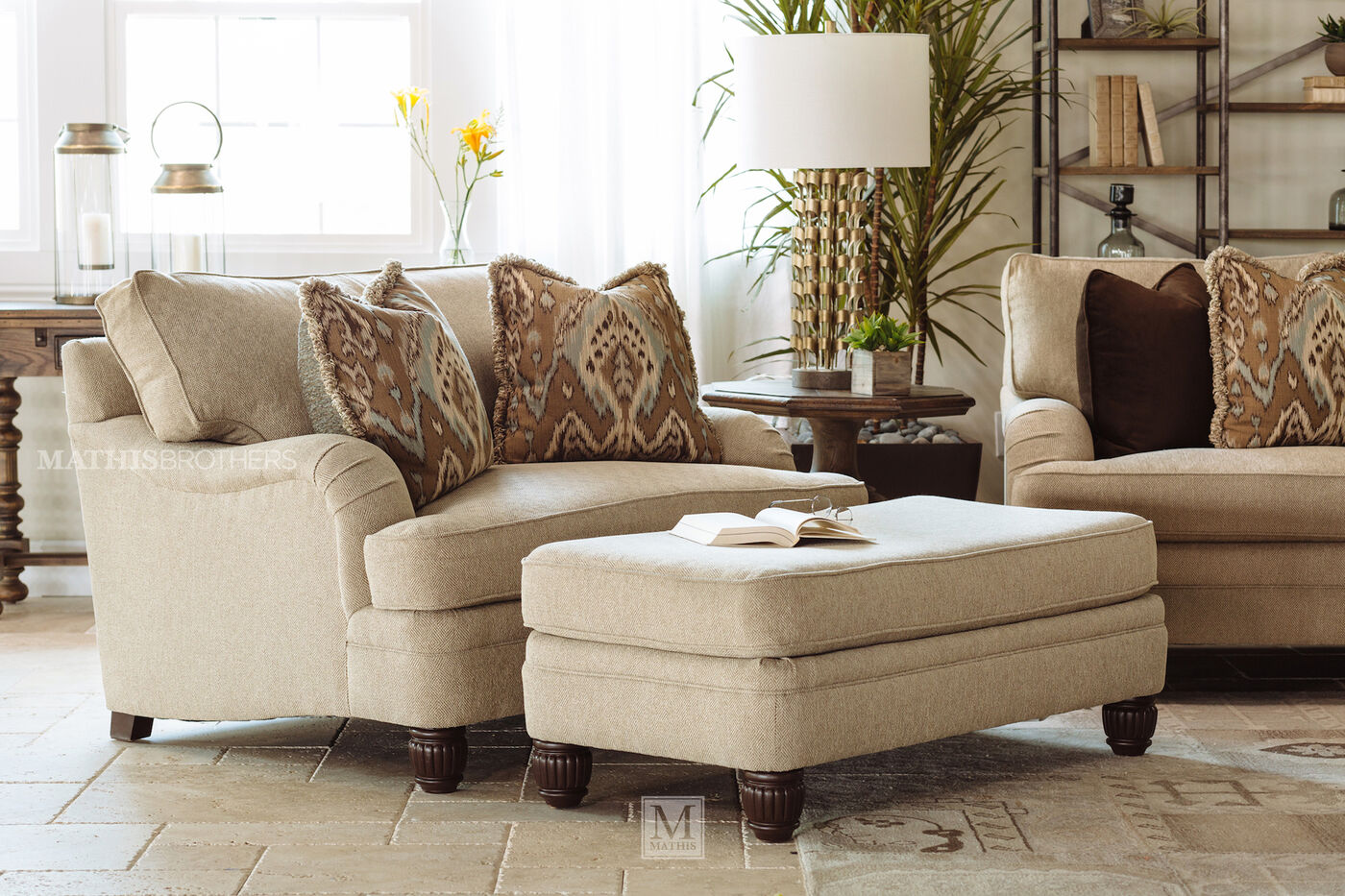 diamond textured casual 54 5 chair and a half in beige mathis brothers furniture. Black Bedroom Furniture Sets. Home Design Ideas