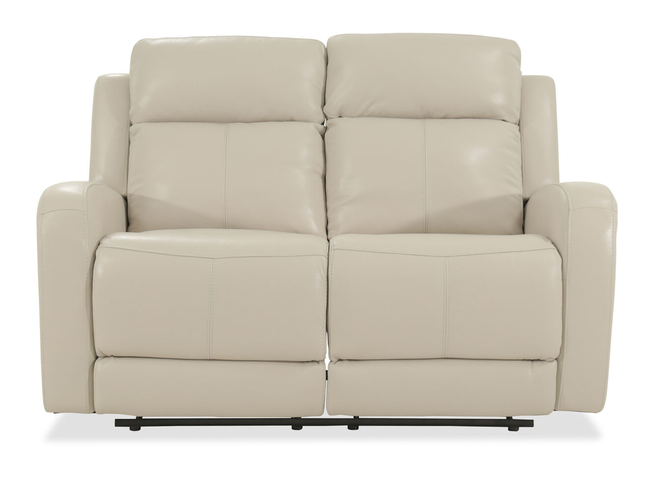Power Reclining Leather 60 Loveseat In Cream Mathis Brothers Furniture