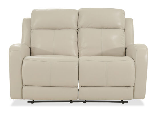 "Power Reclining Leather 60"" Loveseat in Cream"