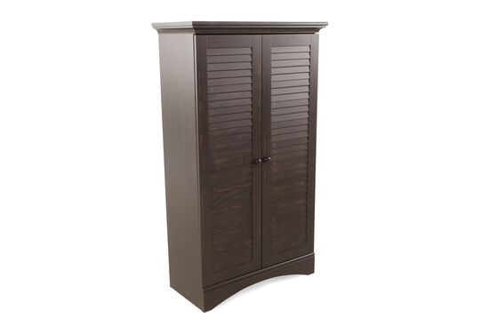 Louver Two-Door Contemporary Storage Cabinet in Dark Brown