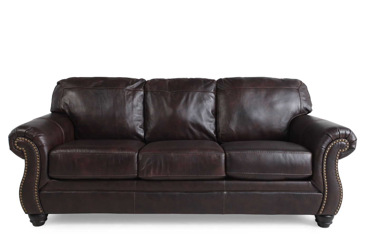 Traditional Rolled Arm 89 Sofa In Walnut Mathis Brothers Furniture