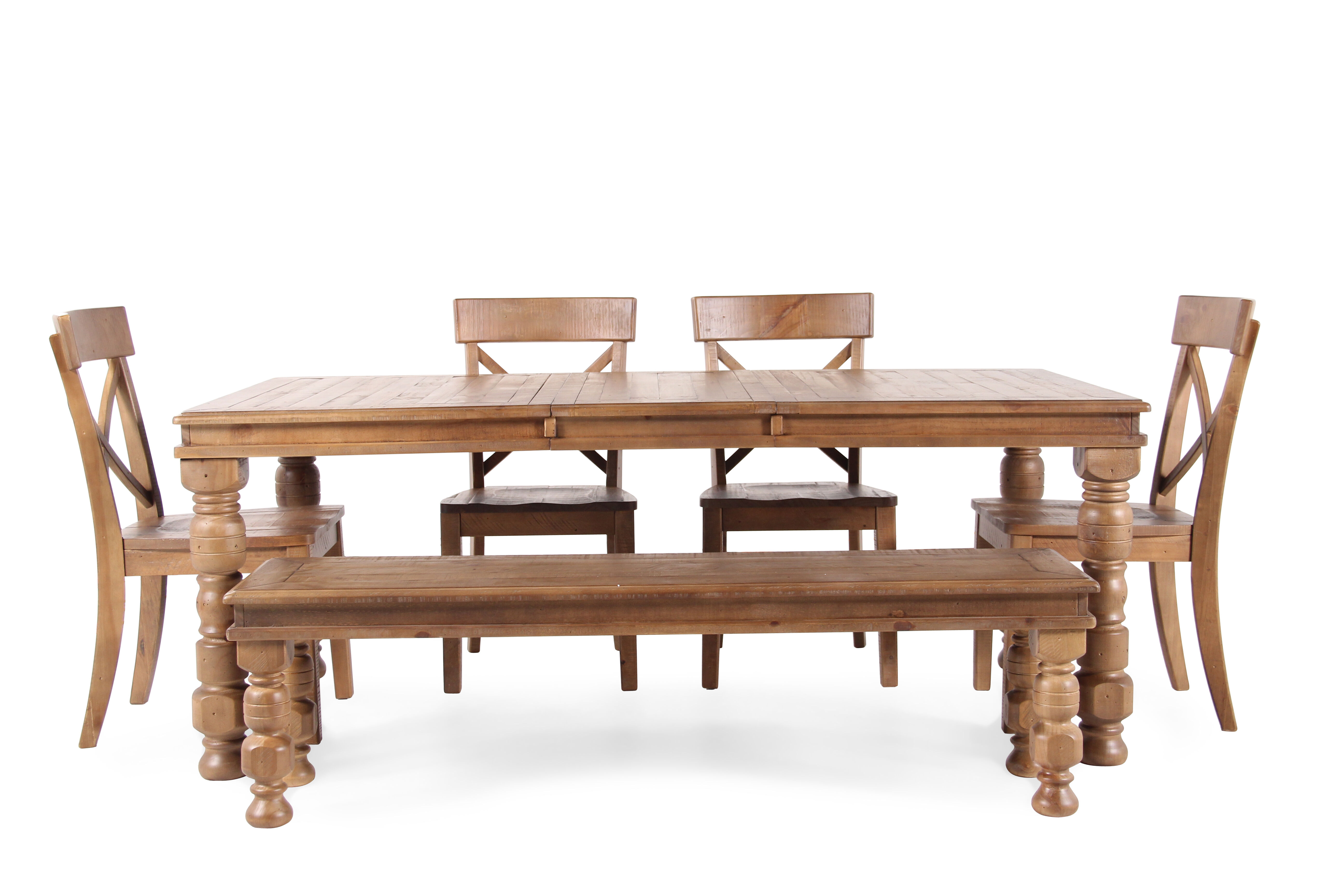 Images Six Piece Solid Wood Casual 78u0026#39;u0026#39; Dining Set