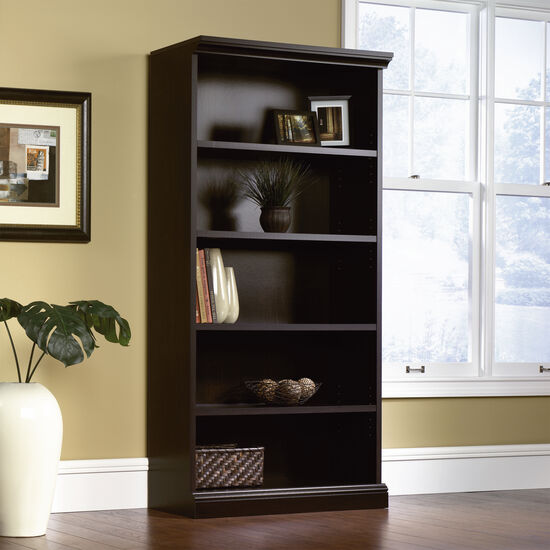 Transitional Adjustable Shelf Open Library in Estate Black