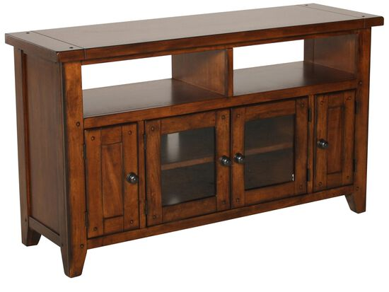 Two Glass Door Country Entertainment Consolein Saddle Brown