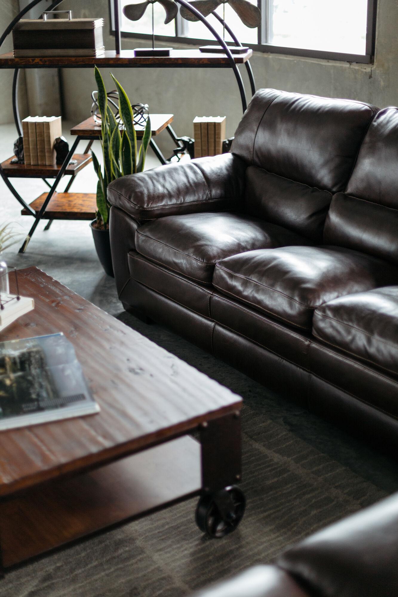 87u0026quot; Leather Sofa In Dark Brown
