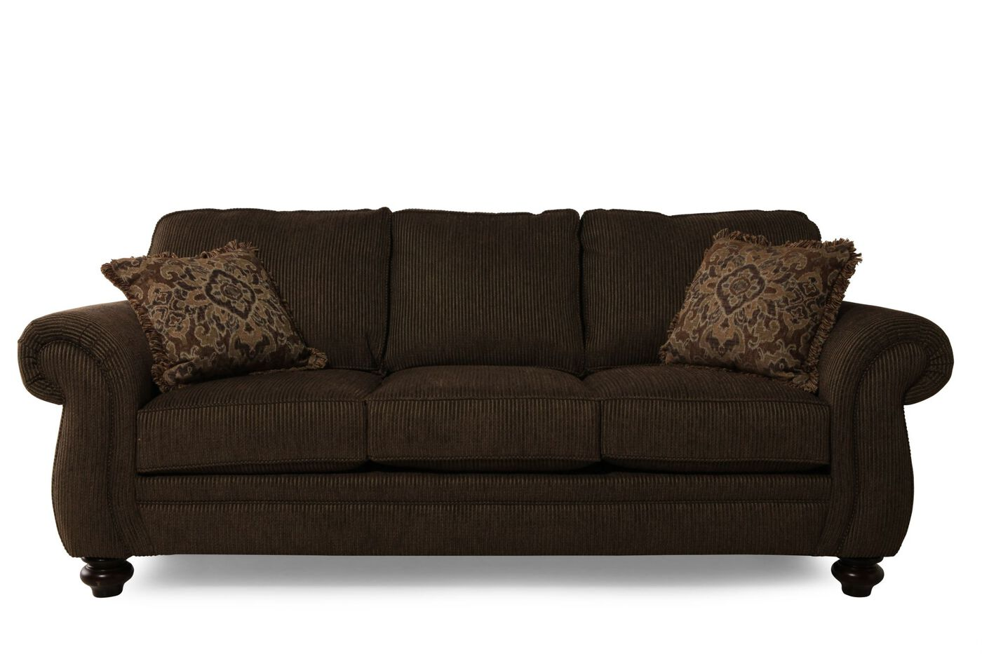 Traditional Corduroy 89 Sofa In Brown