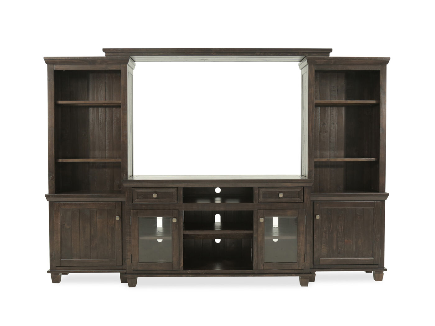 Ashley Dining Room Furniture Four Piece Solid Wood Entertainment Center In Dark Brown