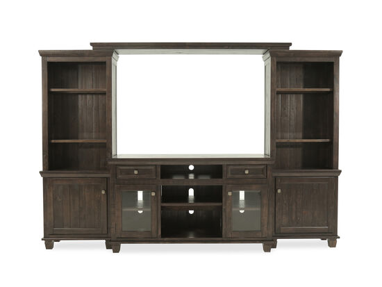 Four-Piece Solid Wood Entertainment Center in Dark Brown