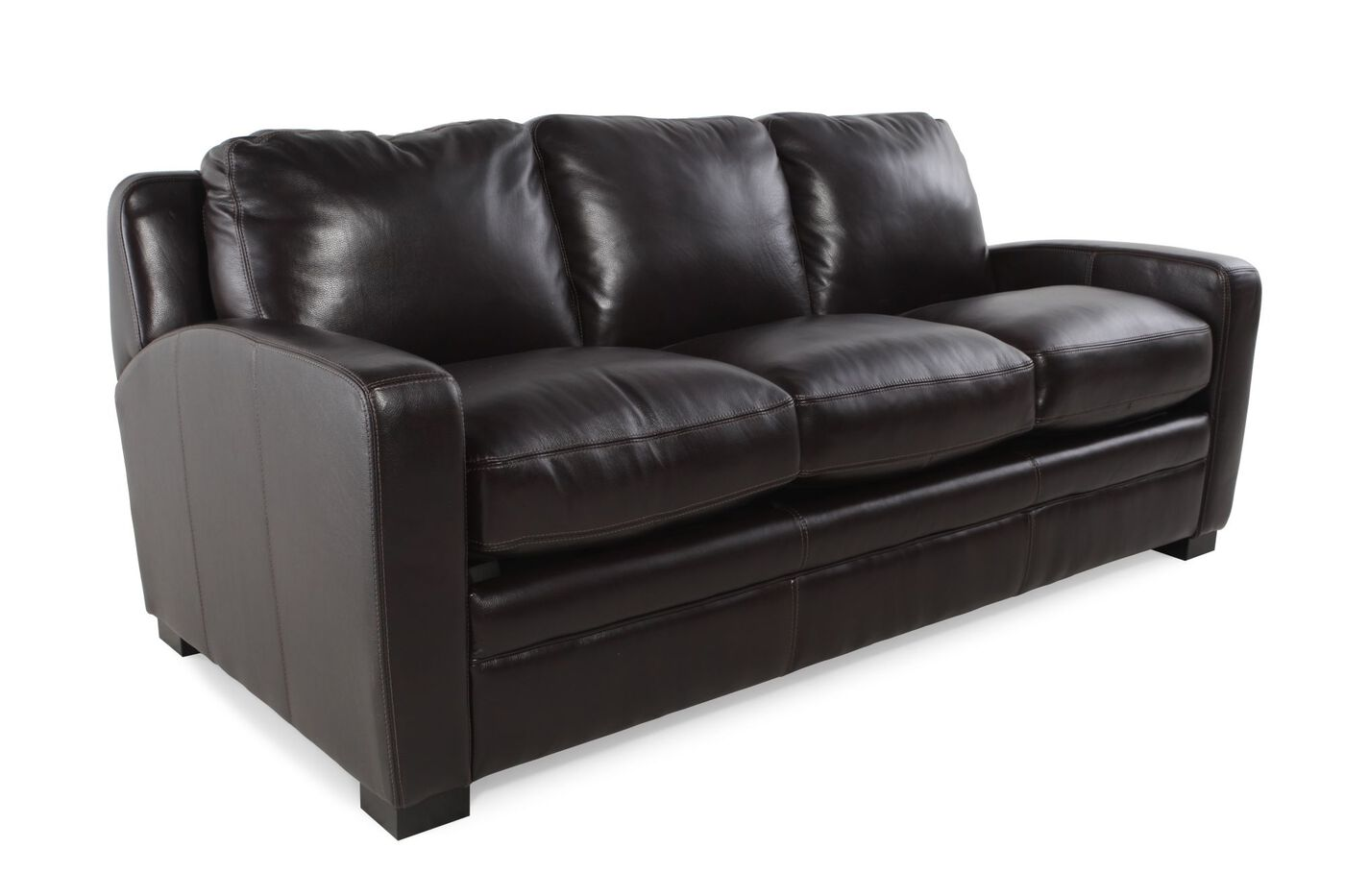 Traditional Leather Queen Sleeper Sofa In Black Mathis Brothers  ~ Queen Sleeper Sofa Leather