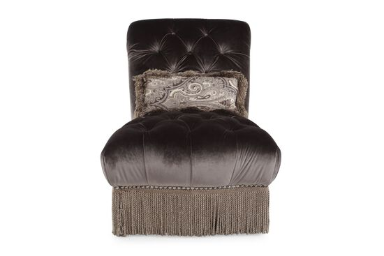 "Button-Tufted Traditional 33"" Chair in Dark Purple"