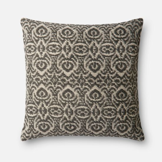 """Indoor/Outdoor 22""""x22"""" Cover w/Down Pillow in Grey/Ivory"""