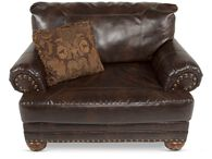 Rolled Arm Traditional Chair and a Half in Brown
