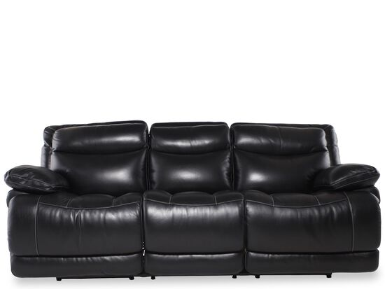 """Leather 91"""" Power Reclining Sofa in Midnight Black"""