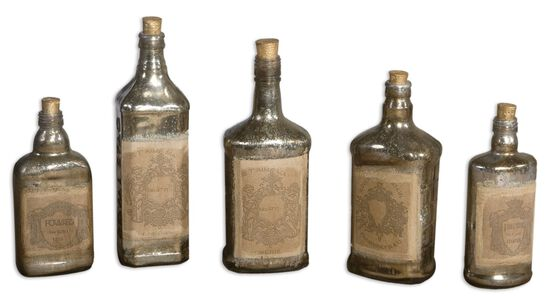 Five-Piece Recycled Mercury Glass Bottles