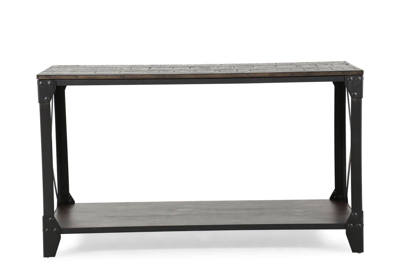 X Braced Contemporary Sofa Table In Gunmetal Black