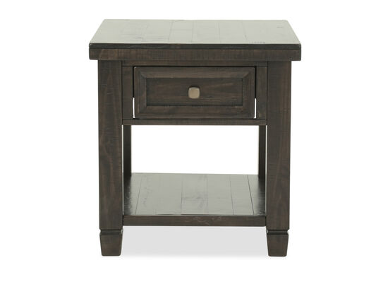 Traditional Planked One-Drawer End Table in Brown