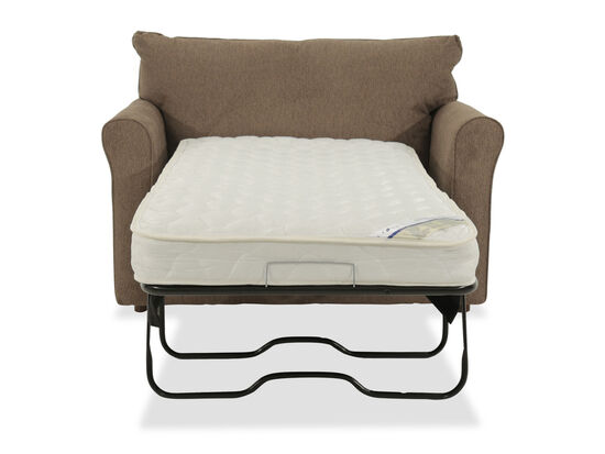 "Roll Arm Casual 54"" Twin Sleep Chair in Brown"