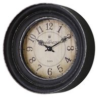 Framed Crackle-Face Wall Clock in Aged Black