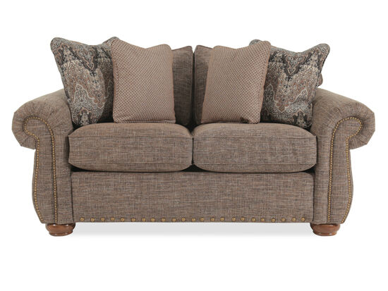 """Nailhead-Trimmed Traditional 71"""" Loveseat in Brown"""