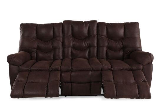 "Microfiber 85"" Reclining Sofa in Russet Brown"
