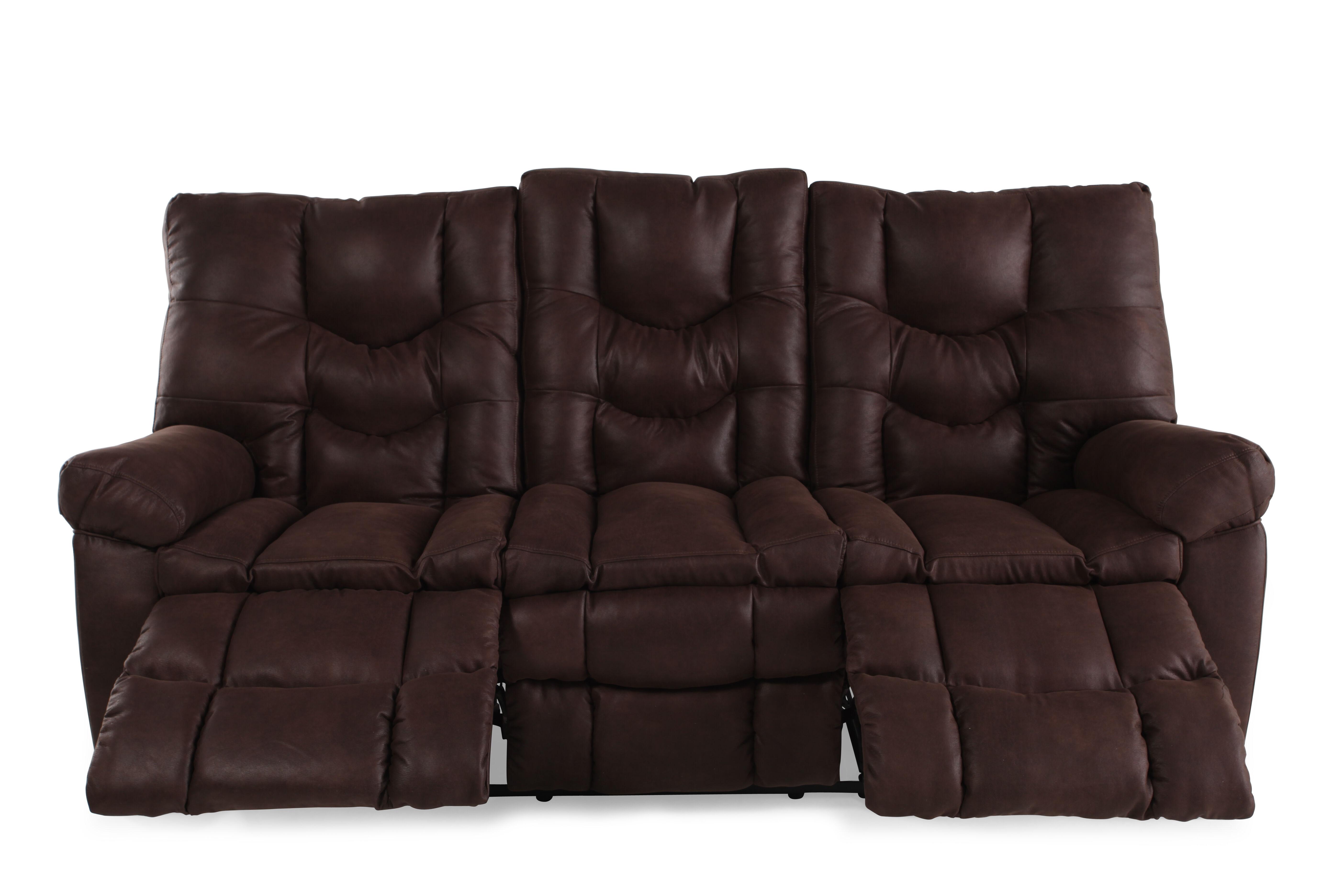 Microfiber 85u0026quot; Reclining Sofa In Russet Brown