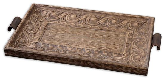 Carved Decorative Tray in Brown
