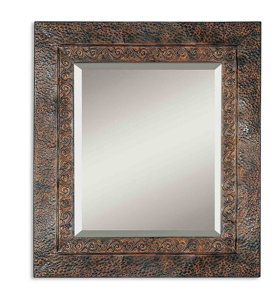 34'' Fluer-De-Lis Detailed Accent Mirror in Brown